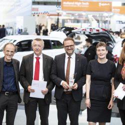 Energie und Umwelt_Prof Dr Uwe Höft, Norbert Bamberger (MTU), Lars Kräft (MTU), Carmen Schwabl (LNVG) und Moderatorin Manuela Stamm.jpg